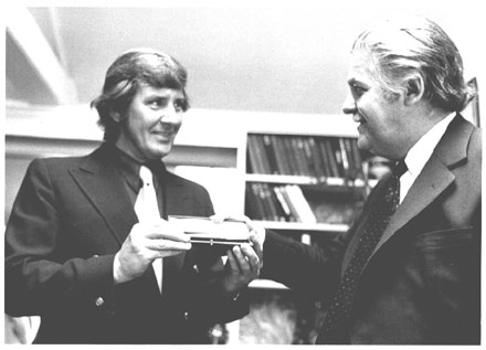 Stan presented with a pen for a million Tobin sales (by Alewyn Birch) 1973